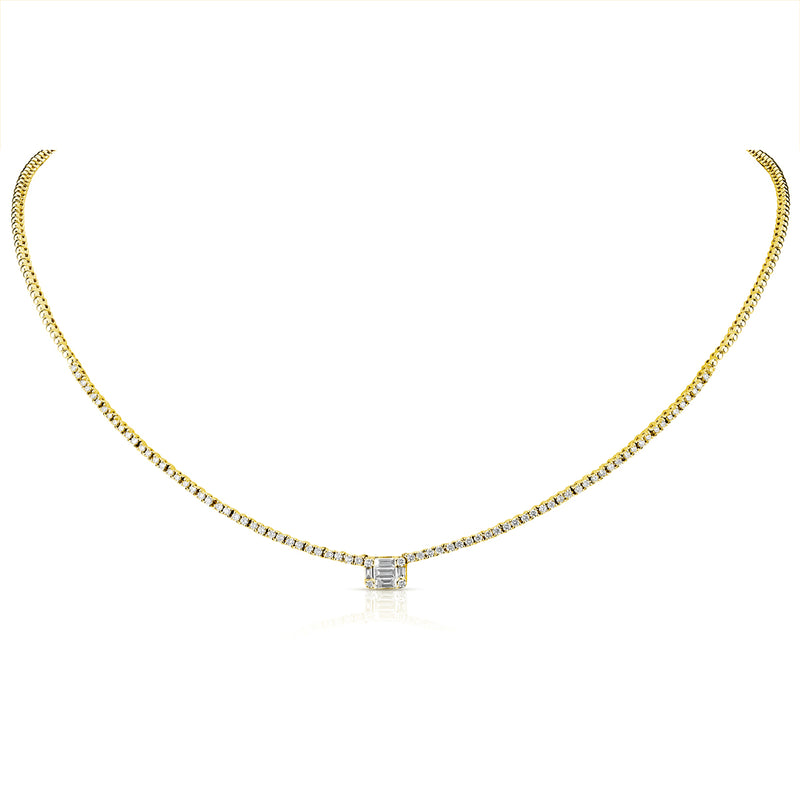14KT Yellow Gold Baguette Diamond Colette Necklace