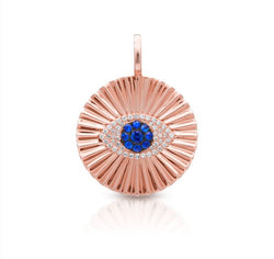 14KT Rose Gold Blue Sapphire Diamond Evil Eye Rays Charm