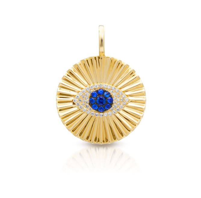 14KT Yellow Gold Blue Sapphire Diamond Evil Eye Rays Charm