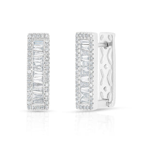 14KT White Gold Baguette Diamond Rectangle Honey Huggie Earrings
