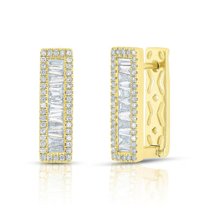 14KT Yellow Gold Baguette Diamond Rectangle Honey Huggie Earrings