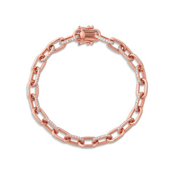 14KT Rose Gold Diamond Lara Chain Link Bracelet