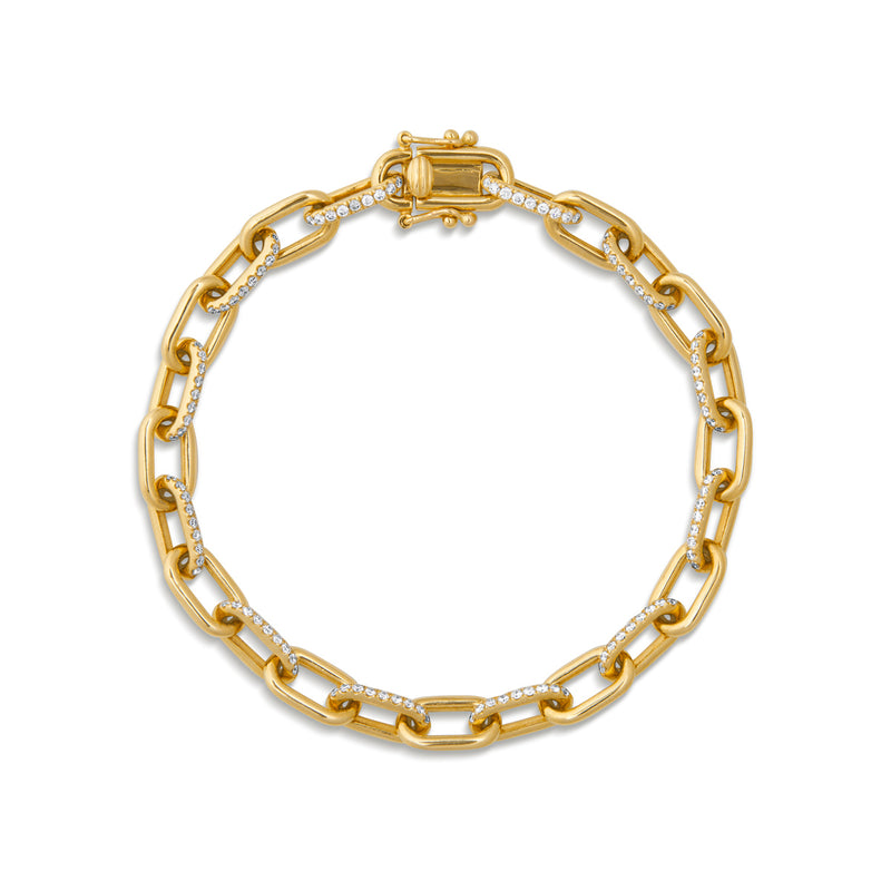 14KT Yellow Gold Diamond Lara Chain Link Bracelet