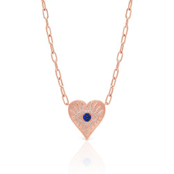 14KT Rose Gold Diamond Sapphire Evil Eye Heart Celestia Charm Necklace