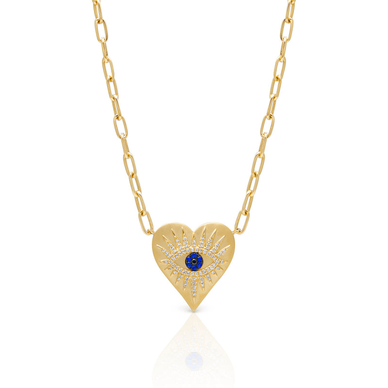 14KT Yellow Gold Diamond Sapphire Evil Eye Heart Celestia Charm Necklace