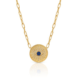 14KT Yellow Gold Diamond Sapphire Evil Eye Celestia Charm Necklace