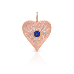 14KT Rose Gold Diamond Sapphire Evil Eye Heart Celestia Charm Pendant