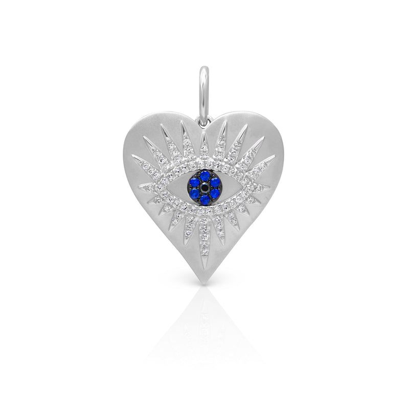 14KT White Gold Diamond Sapphire Evil Eye Heart Celestia Charm Pendant