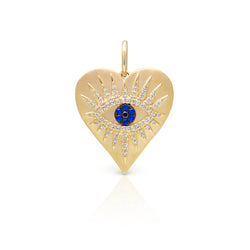 14KT Yellow Gold Diamond Sapphire Evil Eye Heart Celestia Charm Pendant