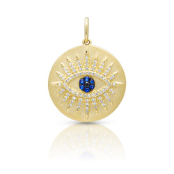 14KT Yellow Gold Diamond Sapphire Evil Eye Celestia Charm Pendant