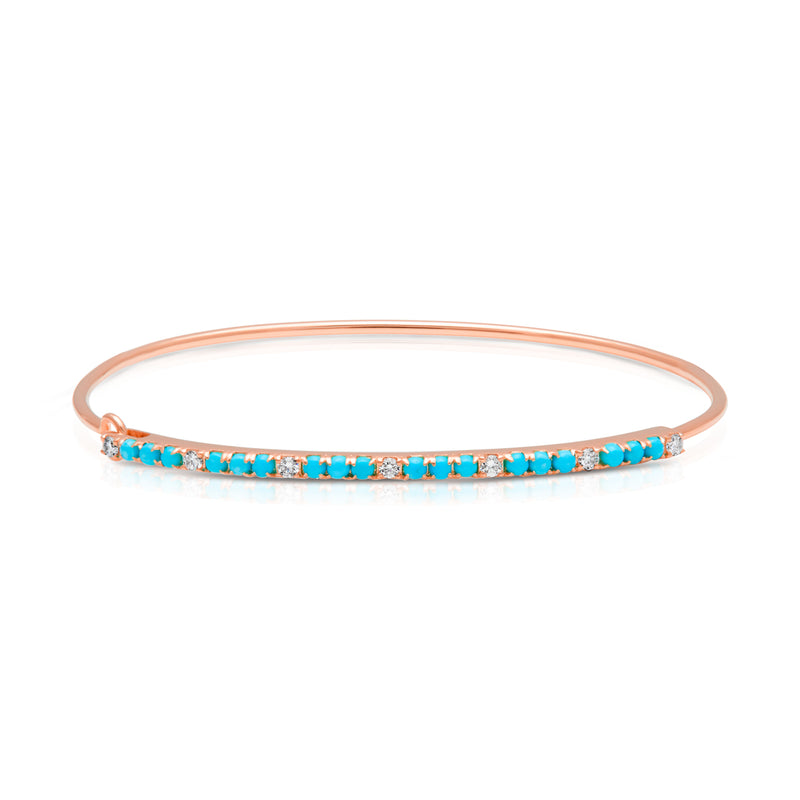 14KT Rose Gold Diamond Turquoise Latch Bracelet