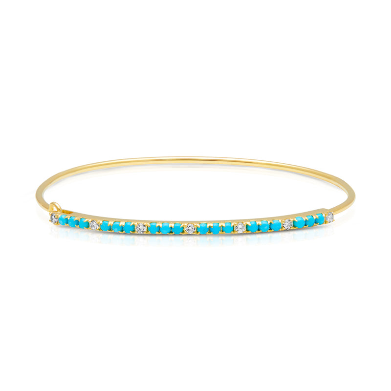 14KT Yellow Gold Diamond Turquoise Latch Bracelet