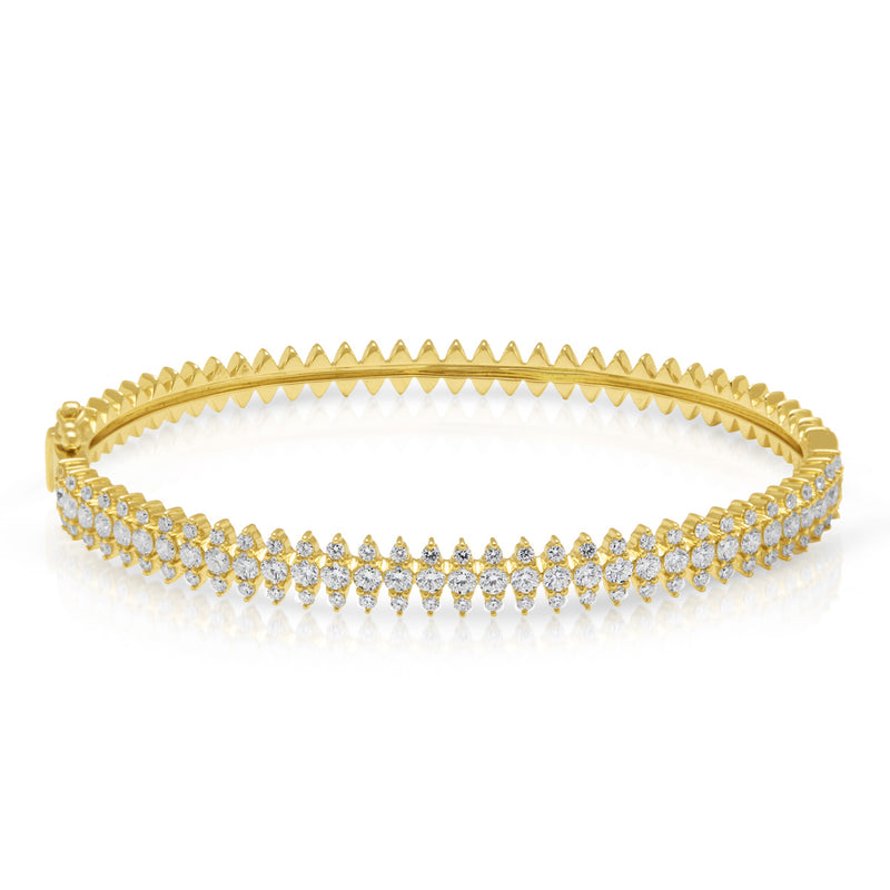 14KT Yellow Gold Diamond Luxe Queen Bangle Bracelet