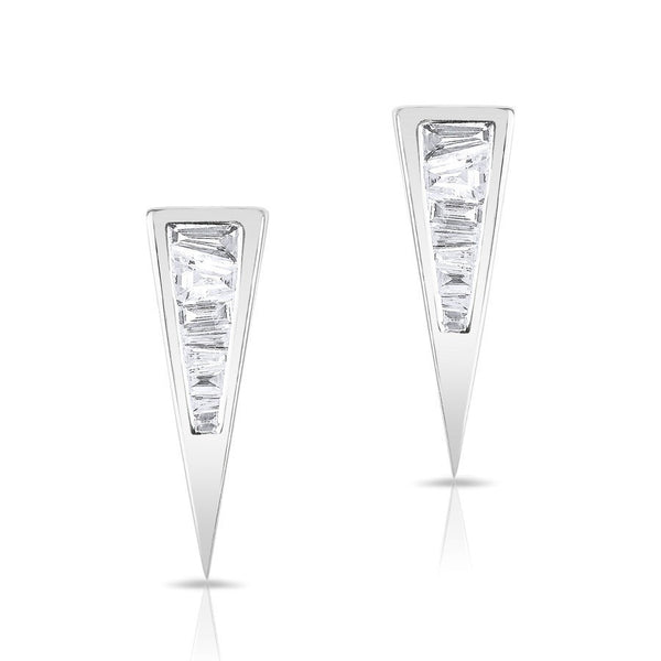 white gold baguette diamond triangle stud earrings