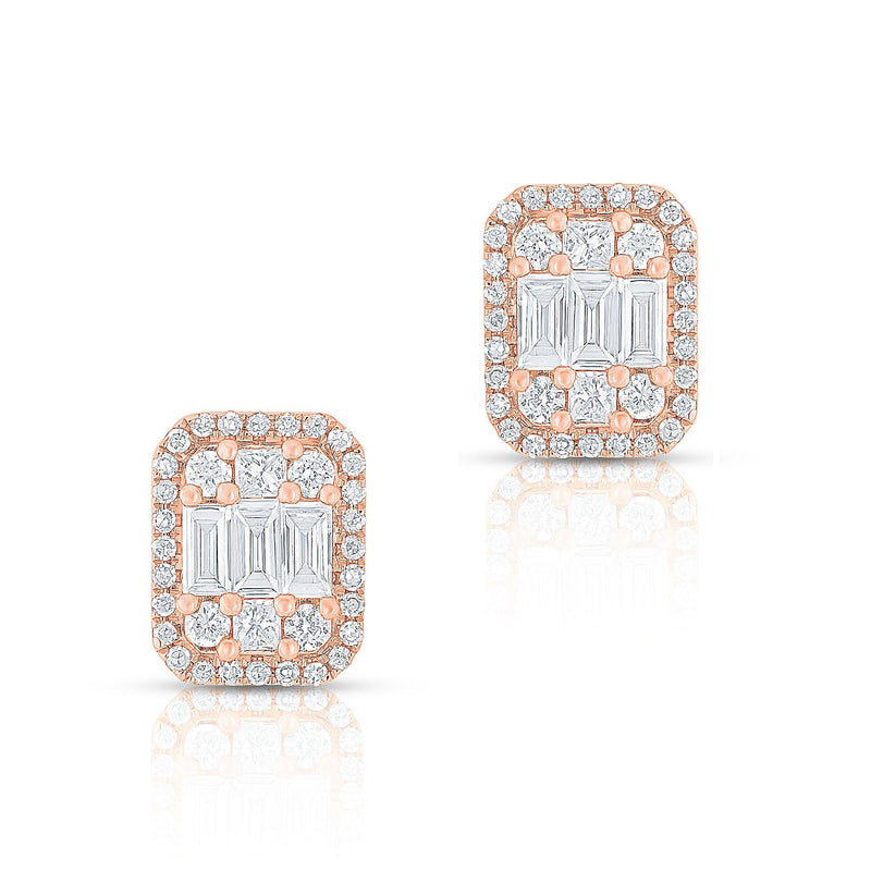 14KT Rose Gold Baguette Diamond Rectangle Ryleigh Stud Earrings