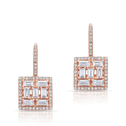 14KT Rose Gold Baguette Diamond Square Labrynthe Earrings