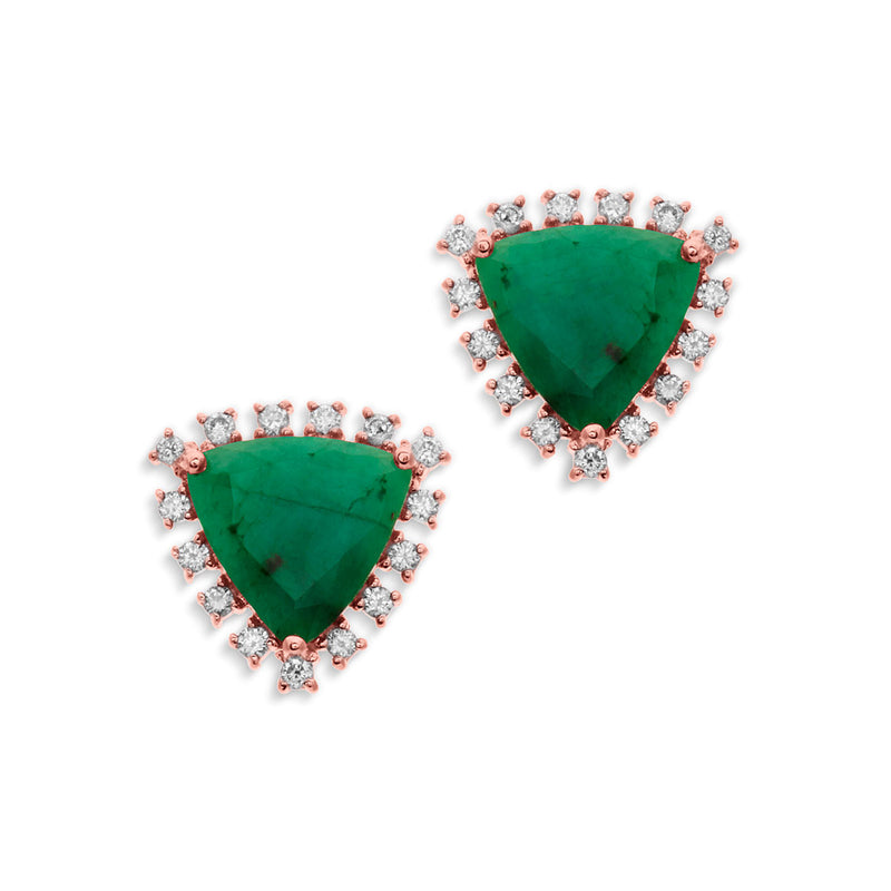14KT Rose Gold Emerald Diamond Luxe Jasmine Stud Earrings