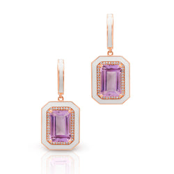 14KT Rose Gold Diamond Amethyst Enamel Deco Earrings