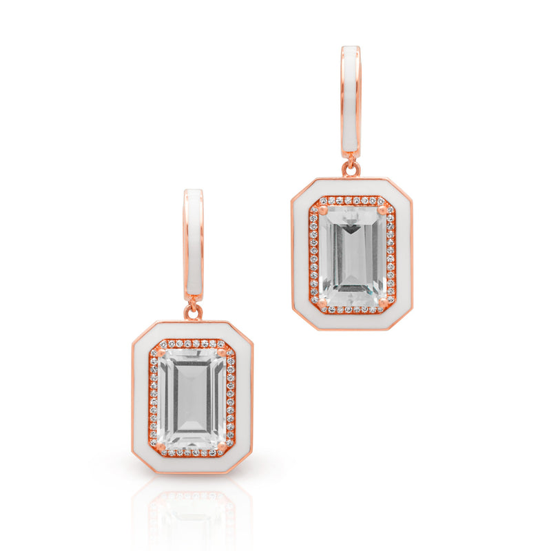 14KT Rose Gold Diamond White Topaz Enamel Deco Earrings
