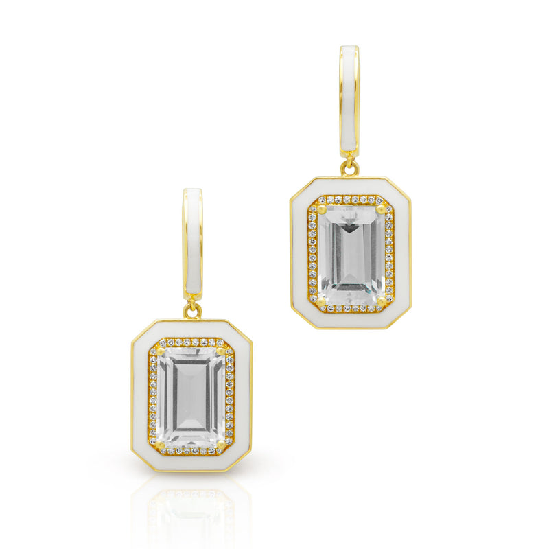 14KT Yellow Gold Diamond White Topaz Enamel Deco Earrings