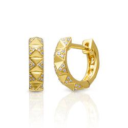 14KT Yellow Gold Diamond Pyramid Huggie Earrings