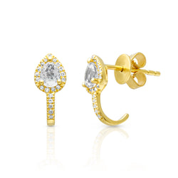 14KT Yellow Gold White Topaz Diamond Sophie Huggie Earrings