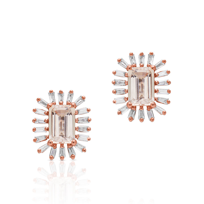 14KT Rose Gold Morganite Baguette Diamond Audelia Stud Earrings