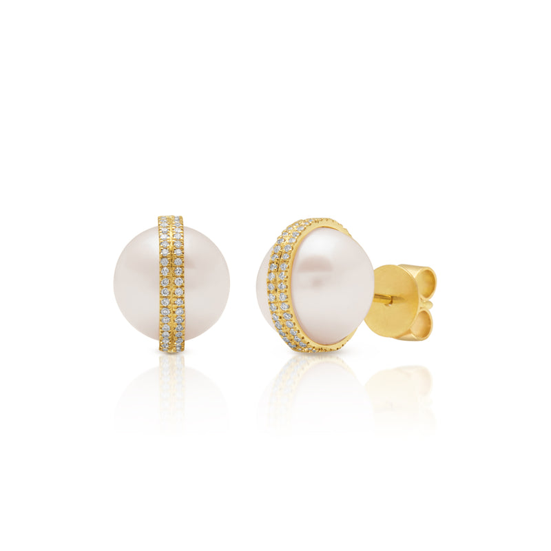 14KT Yellow Gold Diamond Pearl Hannah Stud Earrings
