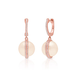 14KT Rose Gold Diamond Pearl Hannah Huggie Earrings