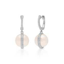 14KT White Gold Diamond Pearl Hannah Huggie Earrings