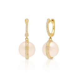 14KT Yellow Gold Diamond Pearl Hannah Huggie Earrings