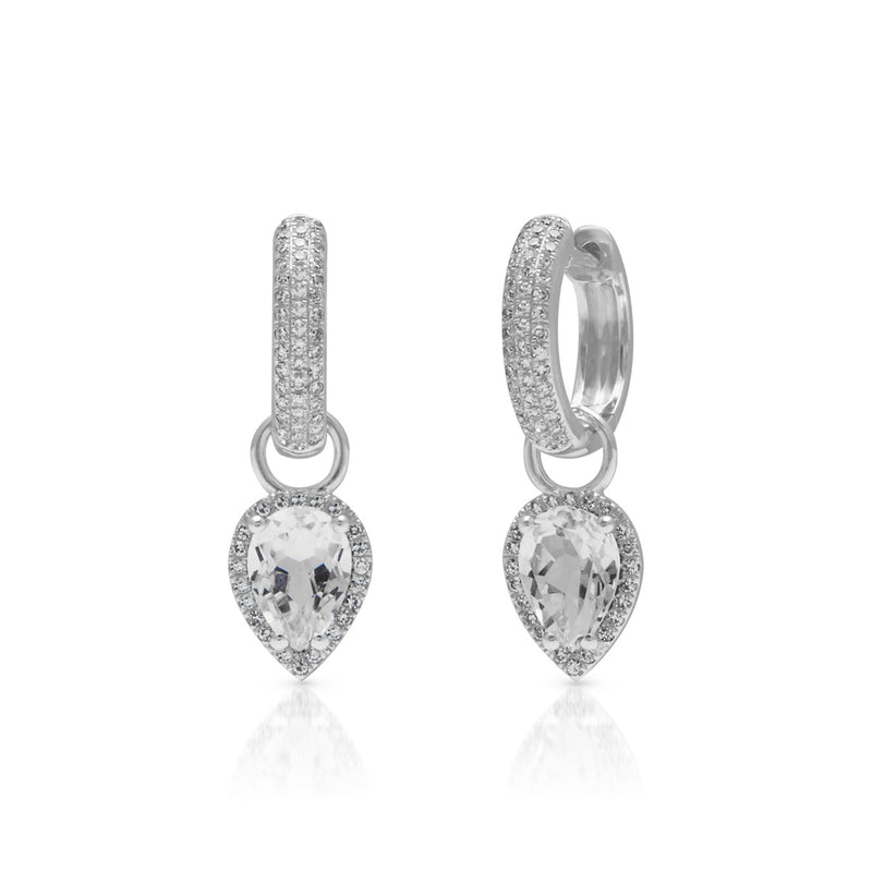 18KT White Gold White Topaz Diamond Brooklyn Earrings