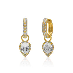 18KT Yellow Gold White Topaz Diamond Brooklyn Earrings