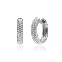 18KT White Gold Diamond Brooklyn Huggie Earrings