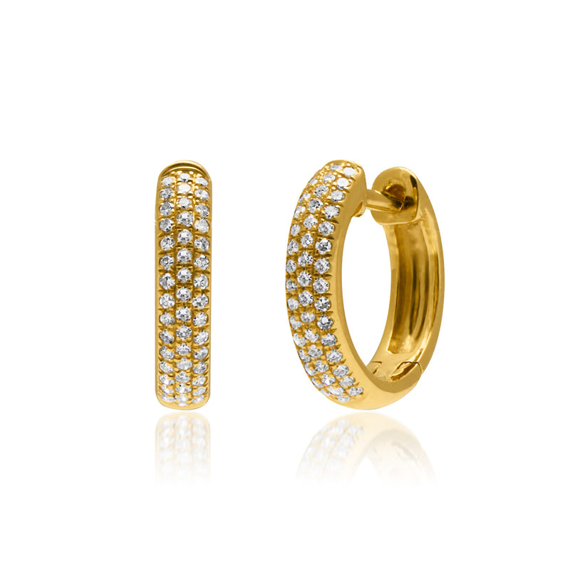 18KT Yellow Gold Diamond Brooklyn Huggie Earrings