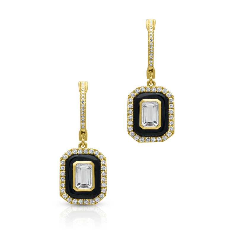 14KT Yellow Gold Onyx White Topaz Diamond Earrings