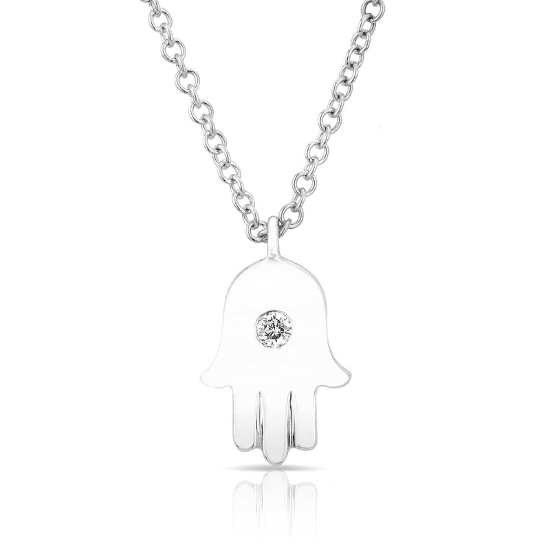 white gold hamsa necklace