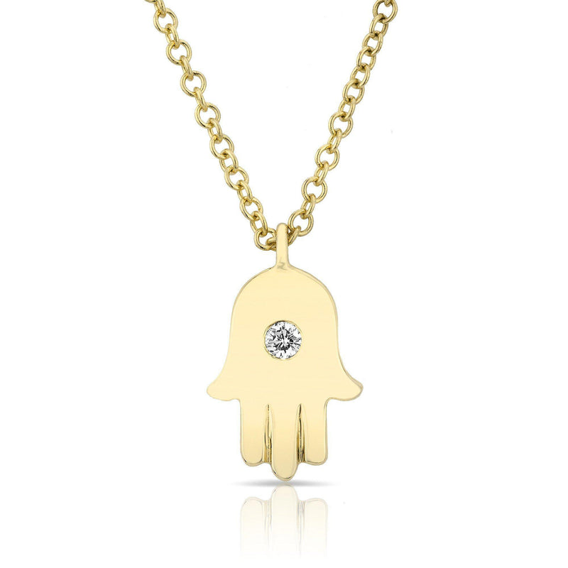 yellow gold hamsa necklace