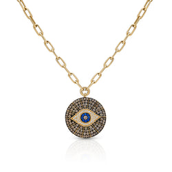 14KT Yellow Gold Champagne Diamond Sapphire Evil Eye Chain Necklace