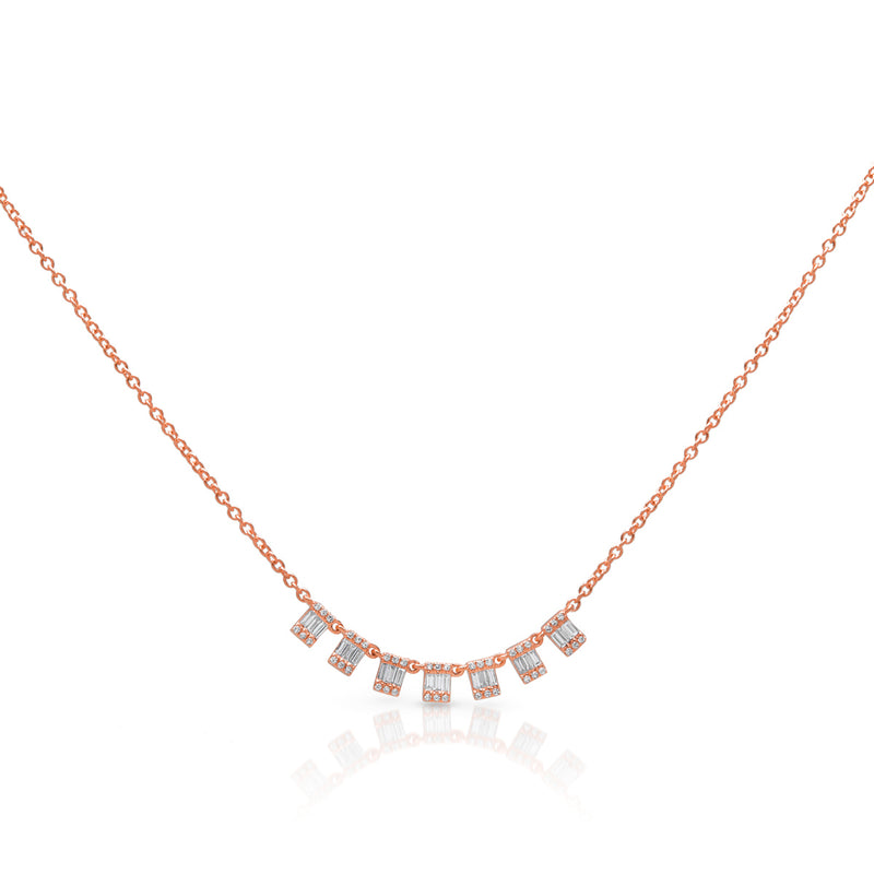 14KT Rose Gold Baguette Diamond Genevieve Necklace