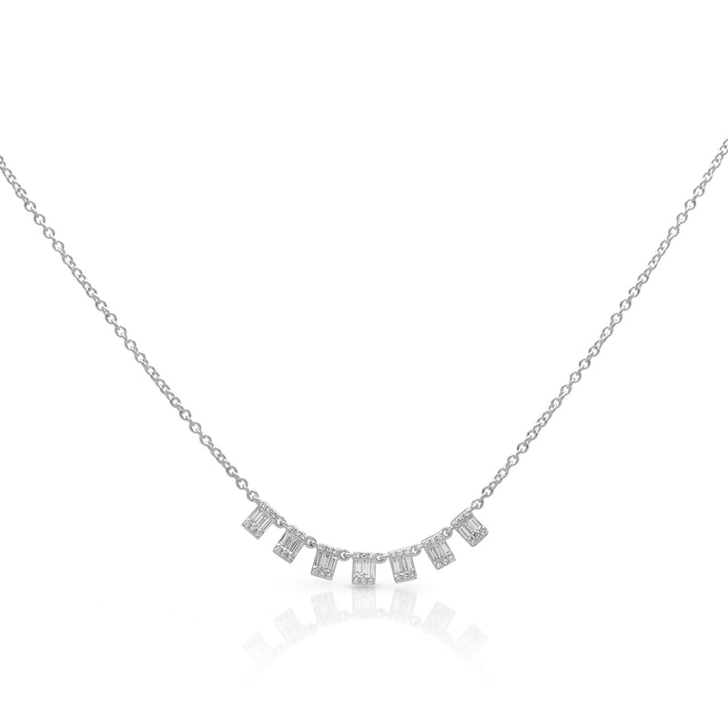 14KT White Gold Baguette Diamond Genevieve Necklace