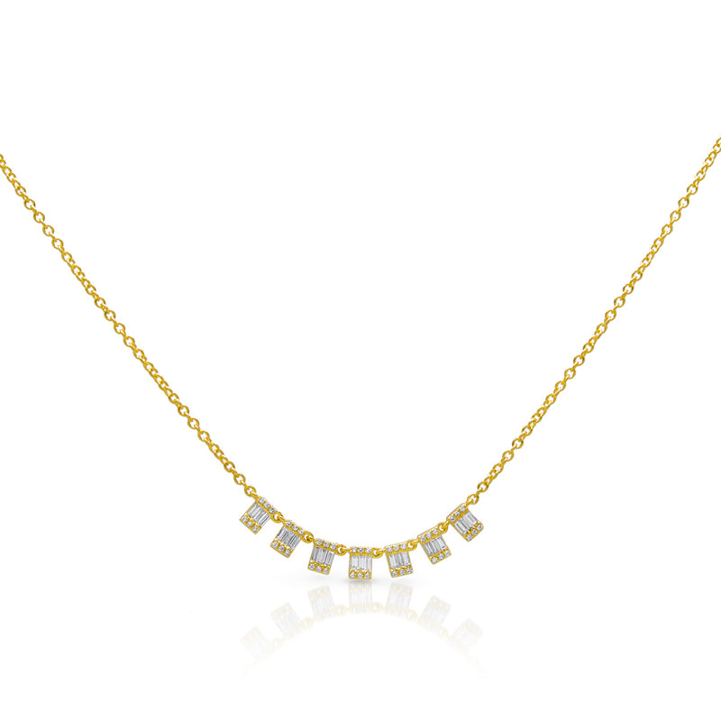 14KT Yellow Gold Baguette Diamond Genevieve Necklace