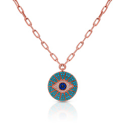 14KT Rose Gold Turquoise Diamond Sapphire Evil Eye Chain Necklace