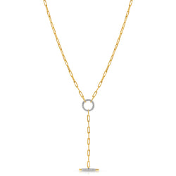 14KT Yellow Gold Diamond Sabelle Chain Link Lariat Necklace