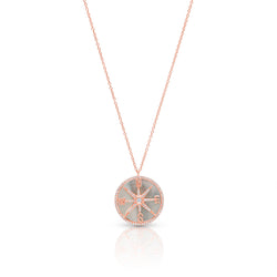 14KT Rose Gold Mother of Pearl Diamond Compass Necklace