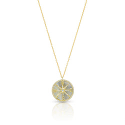 14KT Yellow Gold Mother of Pearl Diamond Compass Necklace