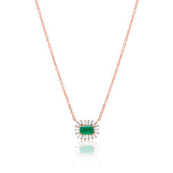 14KT Rose Gold Emerald Baguette Diamond Audelia Necklace