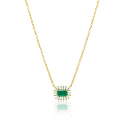 14KT Yellow Gold Emerald Baguette Diamond Audelia Necklace