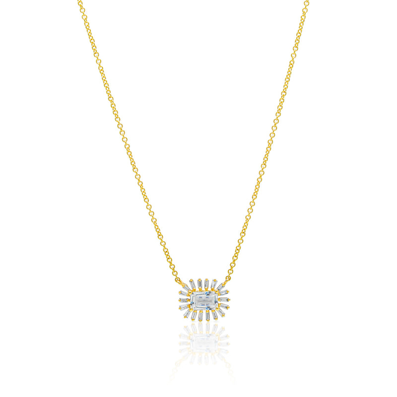 14KT Yellow Gold Topaz Baguette Diamond Audelia Necklace