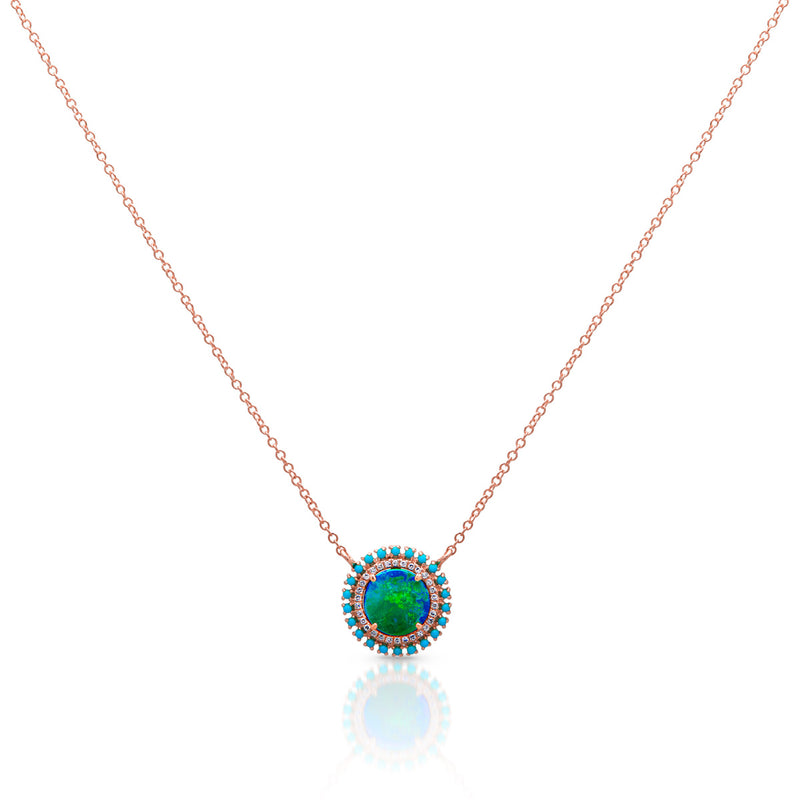 14KT Rose Gold Opal Turquoise Diamond Round Kai Necklace